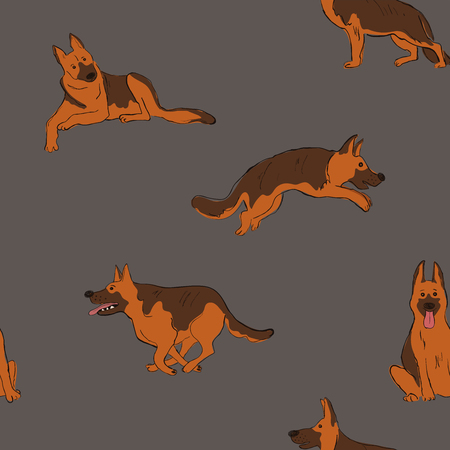 Seamless pattern with cute Shepherd dog. Funny doggy background, wallpaper or print design.