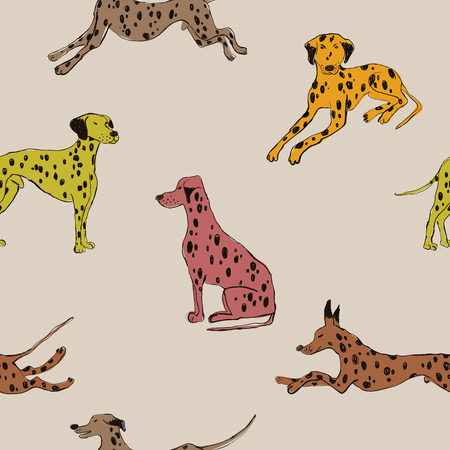 Seamless pattern with cute Dalmatian dog. Funny doggy background, wallpaper or print design.