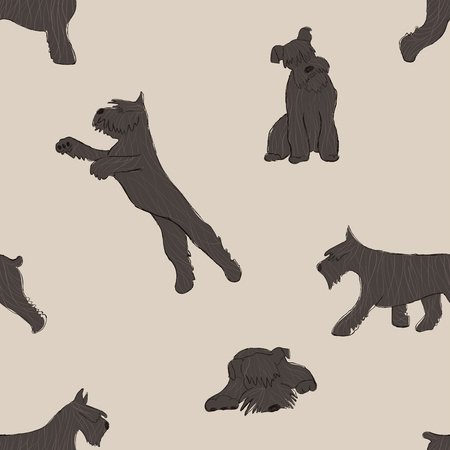 Seamless pattern with cute Miniature Schnauzer dog. Funny doggy background, wallpaper or print design. Illustration