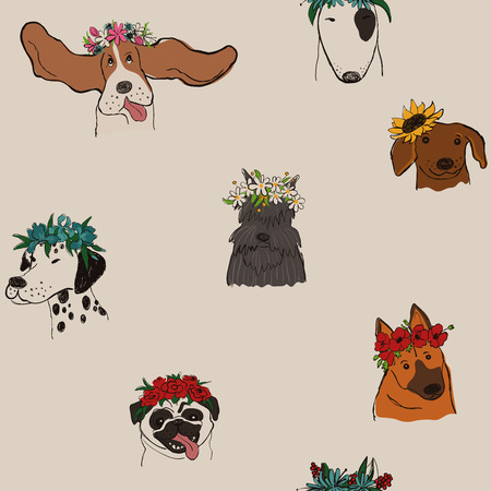 Seamless pattern with cute dogs in floral wreaths. Funny doggy faces background, wallpaper or print.
