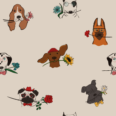 Seamless pattern with cute dogs holding flowers. Funny doggy faces background, wallpaper or print. Illustration