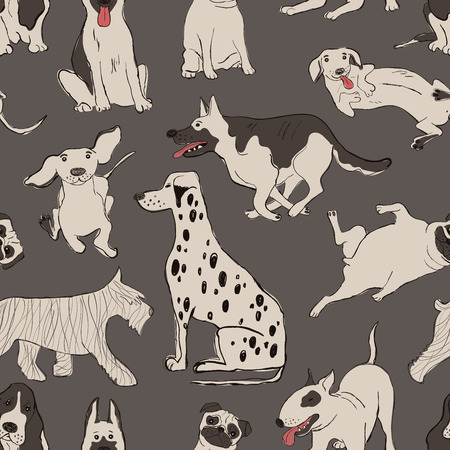 Seamless pattern with cute dogs. Funny doggy background, wallpaper or print.
