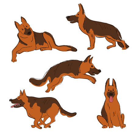 Collection of isolated Shepherd dog icons. Funny cartoon dog character set. Ilustrace
