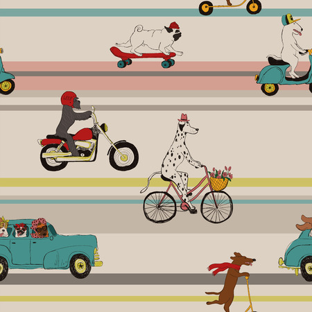 Funny seamless pattern with cute dogs driving car, riding bike, scooter, motorcycle and skateboard.