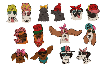 Collection of isolated dog portraits with accessories. Funny hipster dog couples for wedding invitations, t-shirt design, greeting cards, stickers or posters. Illustration