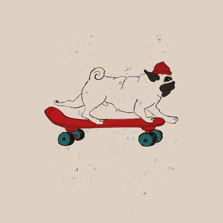 Illustration with cute Pug Dog on skateboard. Funny greeting card, t-shirt design, print, sticker or poster.