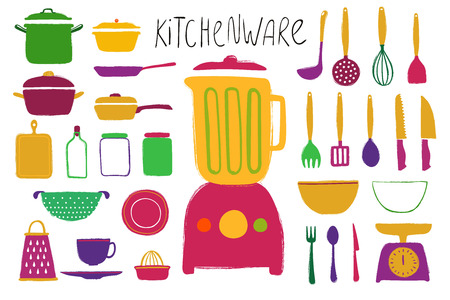 Funny collection of flat colorful kitchenware. Isolated vector icons.