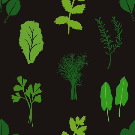Abstract herbs seamless pattern on a black background. Vegetables collection.