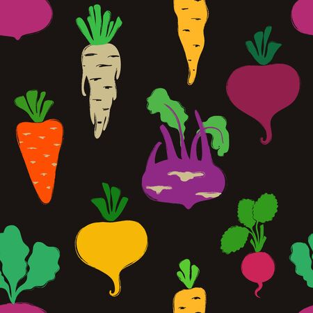 Abstract colorful veggies seamless pattern on a black background. Vegetables collection.