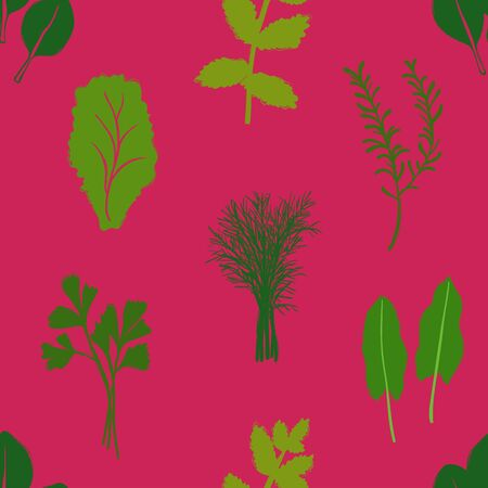 Abstract herbs seamless pattern on a pink background. Vegetables collection.