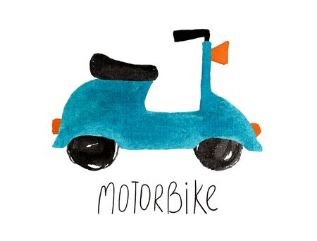Hand drawn kids gouache car. Funny isolated blue motorbike illustration.  Banco de Imagens