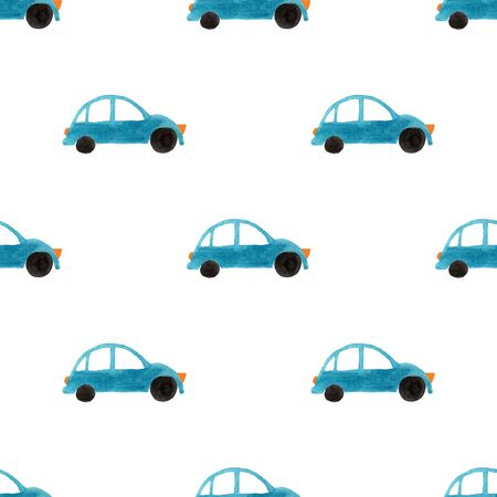 Funny seamless pattern with hand painted blue gouache cars on a white background.