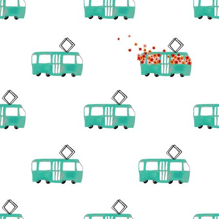 Funny seamless pattern with hand painted gouache tram cars on a white background.