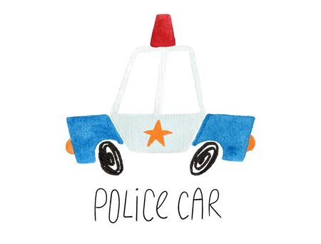 Hand drawn kids gouache car. Funny isolated police car illustration.