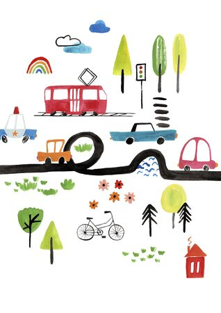 Funny kids gouache poster or card with cars. City traffic illustration. Stock Photo