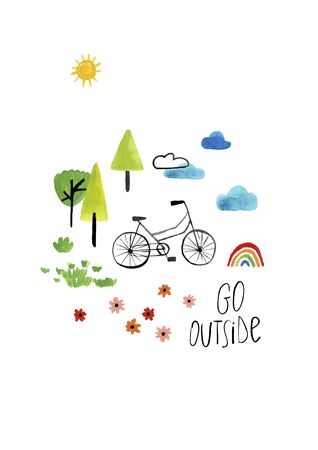 Funny kids gouache poster or card with bike, nature and text - go outside. Stock Photo