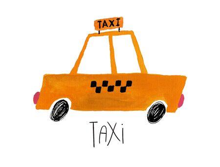 Hand drawn kids gouache car. Funny isolated taxi car illustration.