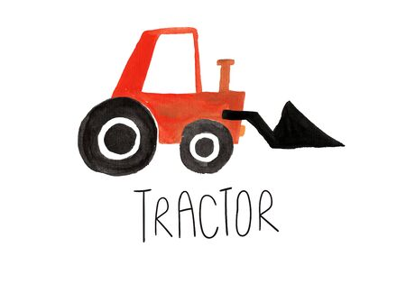 Hand drawn kids gouache car. Funny isolated tractor illustration.