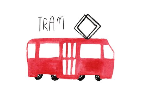 Hand drawn kids gouache car. Funny isolated tram illustration.  写真素材