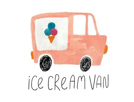 Hand drawn kids gouache car. Funny isolated ice cream van illustration. Stock Photo