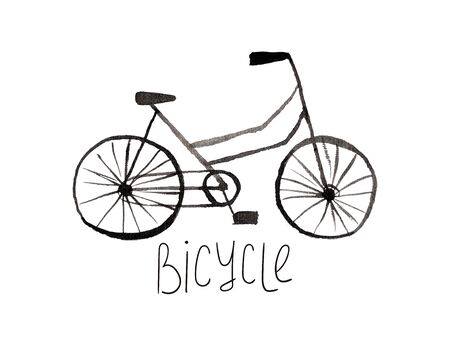 Hand drawn kids gouache bike. Funny isolated bicycle illustration.