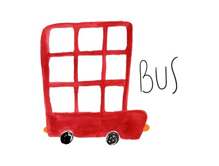 Hand drawn kids gouache car. Funny isolated bus illustration. Stock Photo