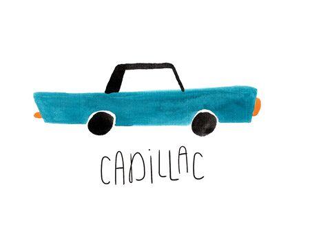 Hand drawn kids gouache car. Funny isolated blue car illustration.