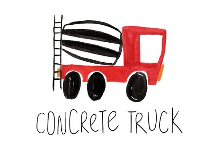 Hand drawn kids gouache car. Funny isolated concrete truck illustration.