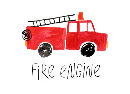 Hand drawn kids gouache car. Funny isolated fire engine illustration. Banque d'images - 125578779