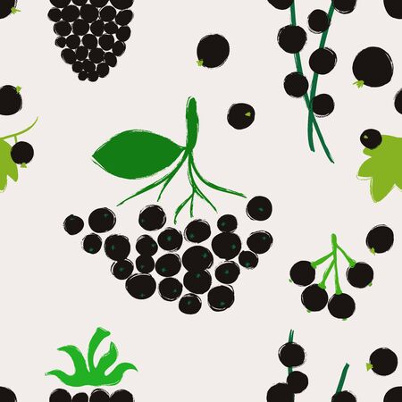 Summer print. Seamless pattern with currant; acai, blackberry, chokeberry and maqui berries. Berry collection. 向量圖像
