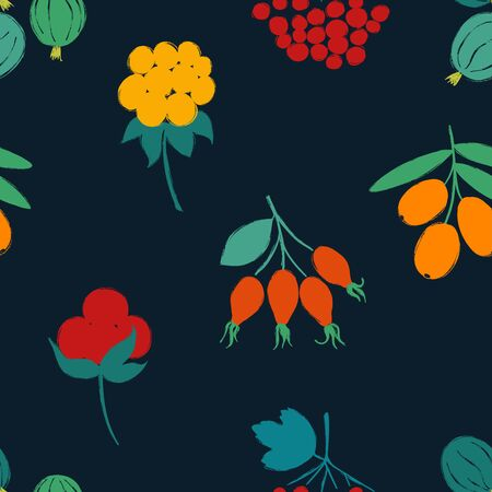 Colorful forest print. Seamless pattern with gooseberry, rose hip, sea buckthorn, cloudberry; stone, and viburnum berries on a deep blue background. Berry collection.