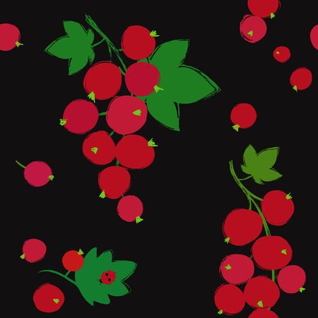 Colorful forest print. Seamless pattern with branch of red currant berries on a black background. Berry collection. 向量圖像