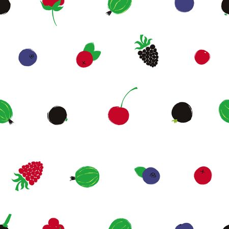 Colorful forest print. Seamless pattern with blueberry, raspberry, cherry, cranberry, stone berry, currant and gooseberry;. Berry collection.