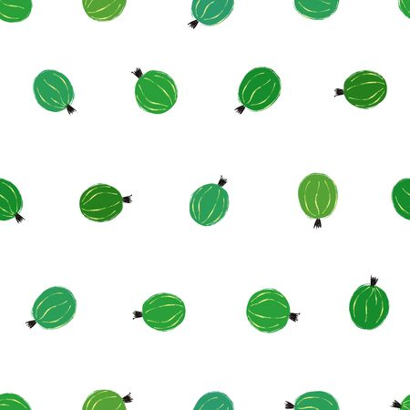 Colorful small fruit print. Seamless pattern with green gooseberries on a white background. Berry collection.