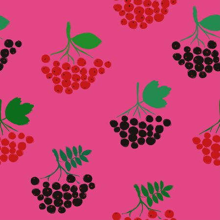 Colorful herbal print. Seamless pattern with branch of rowan, chokeberry and viburnum on a pink background. Berry collection.