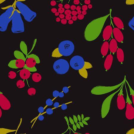 Stampa foresta colorata. Modello senza cuciture con bacche di crespino, mirtillo, goji, sorbo, acai, mirtillo rosso e caprifoglio. Collezione di bacche.
