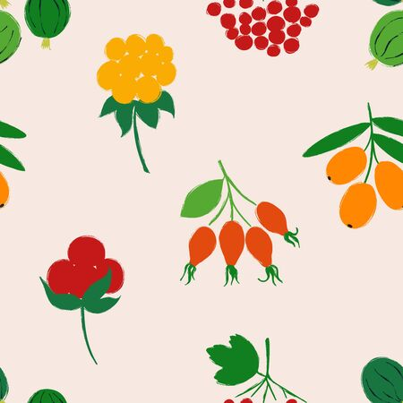 Colorful forest print. Seamless pattern with gooseberry, rose hip, sea buckthorn, cloudberry; stone, and viburnum berries on a beige background. Berry collection. Illusztráció