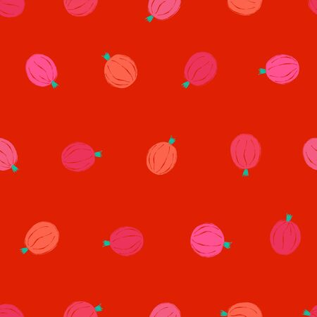 Colorful small fruit print. Seamless pattern with pink gooseberries on a red background. Berry collection. Illusztráció