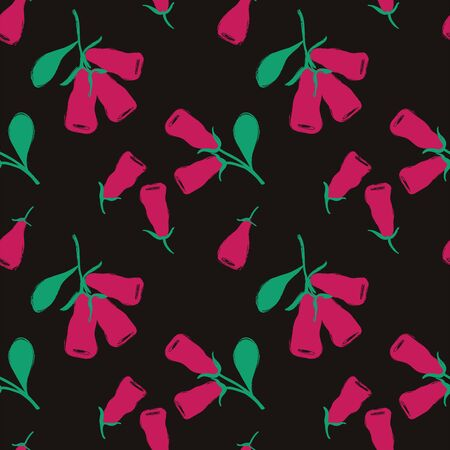 Colorful herbal print. Seamless pattern with branch of honeysuckle berries. Berry collection.