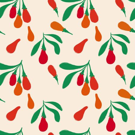 Colorful herbal print. Seamless pattern with branch of goji berries. Berry collection.