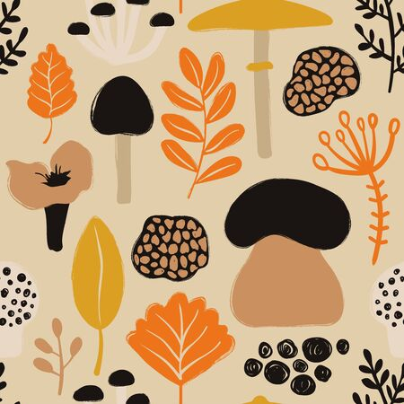 Retro fungi background. Colorful wild forest seamless pattern with mushrooms and plants.