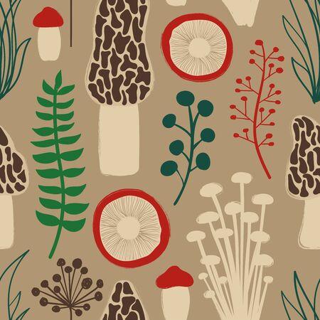 Retro fungi background. Autumn wild forest seamless pattern with mushrooms. 版權商用圖片 - 128189427