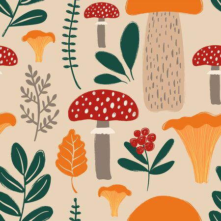 Retro fungi background. Colorful wild forest seamless pattern with mushrooms.