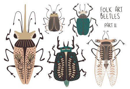 Folk art collection of ornate insects. Set of isolated colorful beetles with patterned decorated wings. Part II.