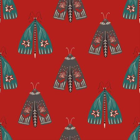Folk art ornate insects background. Colorful seamless pattern of night moths with decorated wings. Stock fotó - 133392223