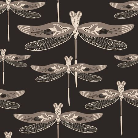 Folk art ornate insects background. Monochrome seamless pattern of dragonflies with decorated wings.