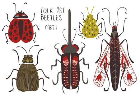 Folk art collection of ornate insects. Set of isolated colorful beetles with patterned decorated wings. Part I.