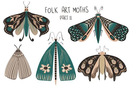Folk art collection of ornate insects. Set of isolated colorful moths with patterned decorated wings. Part II. Illusztráció