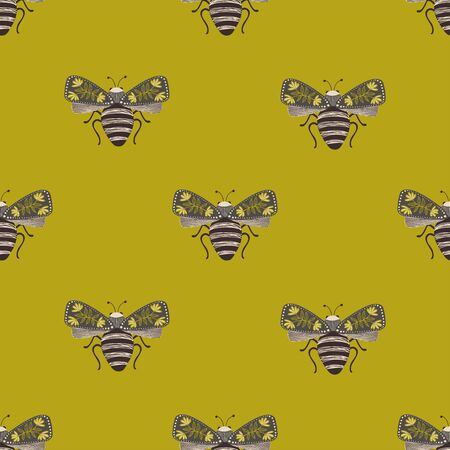Folk art ornate insects background. Colorful seamless pattern of night moths with decorated wings. Stock fotó - 133392235