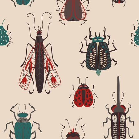 Folk art ornate insects background. Colorful seamless pattern of bugs with decorated wings.  Иллюстрация